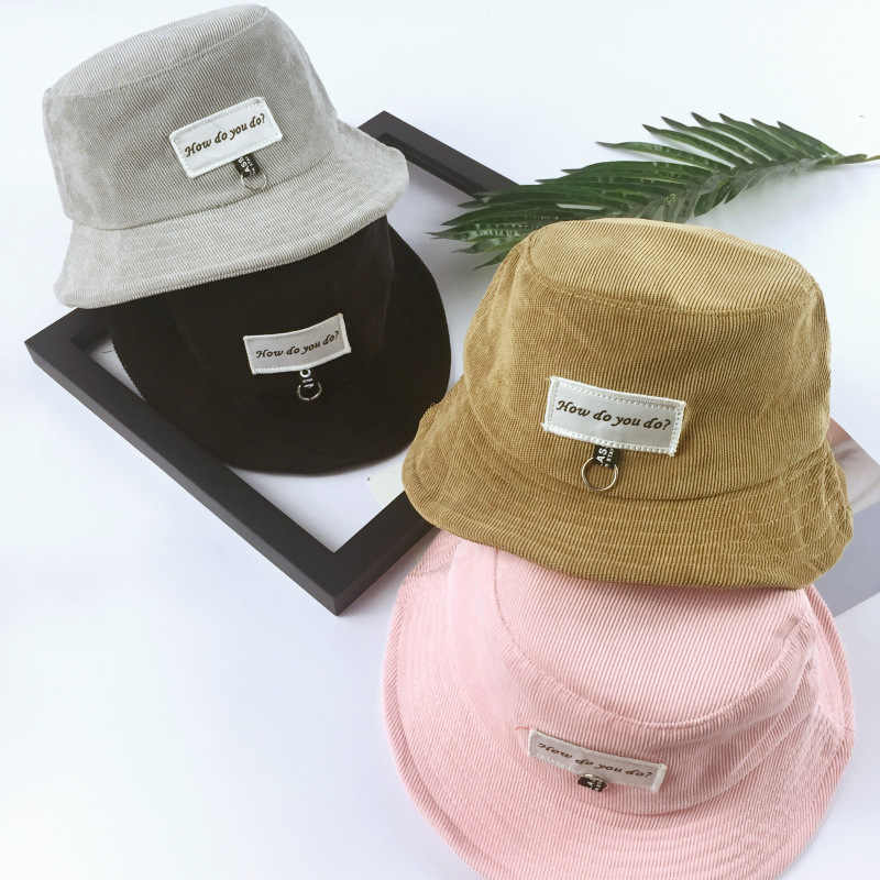 Kids Panama Bucket Hats Ring Patch Letter Boonie Japanese hat Sad Boy Bob Bucket  Hat Panama 989ab154e371
