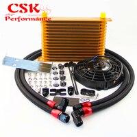 AN10 15 Row Trust Oil Cooler w/ Bracket+7 Electric Fan kit Fits For BMW E36 Euro E82 E9X 135/335 E46 M3 E90 E92 Black/Gold/Blue