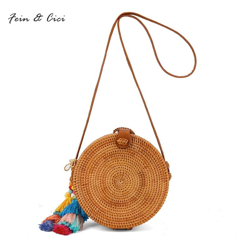 Straw Bags Circle Rattan Bag Bali Women Beach Small Bohemian Handbags Summer 2017 Handmade Crossbody Leather Shoulder