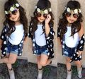 Retail 2017 Summer Girls Clothing Sets Flower Blouse + Vest + Denim Shorts Kids Baby Girl 3pcs Set Children's Clothes Suits