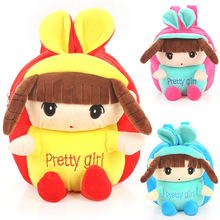 High Quality 25cm Red Pink Blue Pretty Girl Plush Cartoon Toy For Girls Backpack Girl Character