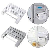 multifunctional 6 in 1 Kitchen Storage Shelf Plastic Wrap Cutter Wall Hang Rack Spice Organizer Paper Towel Holder