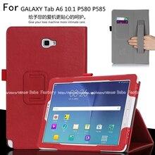 Caja de la tableta Para Samsung Galaxy Tab Un A6 10.1 S-pen versiones P580 P585 Tirón de la Caja Del Soporte de LA PU Con el Sostenedor de la mano de Shell Funda + Regalo