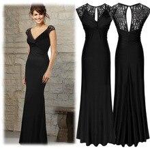 Freies Verschiffen 2016 schwarz V Kragen Kappen-Hülsen Spitze lange Mantel Frauen Kleid Promi Stil Sommer Kleid Elegante Abend Vestidos