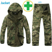 Tactical Gear Softshell Camouflage Jacket Men Army Waterproof Warm Camo Clothes Windbreaker Fleece Coat Military Jacket