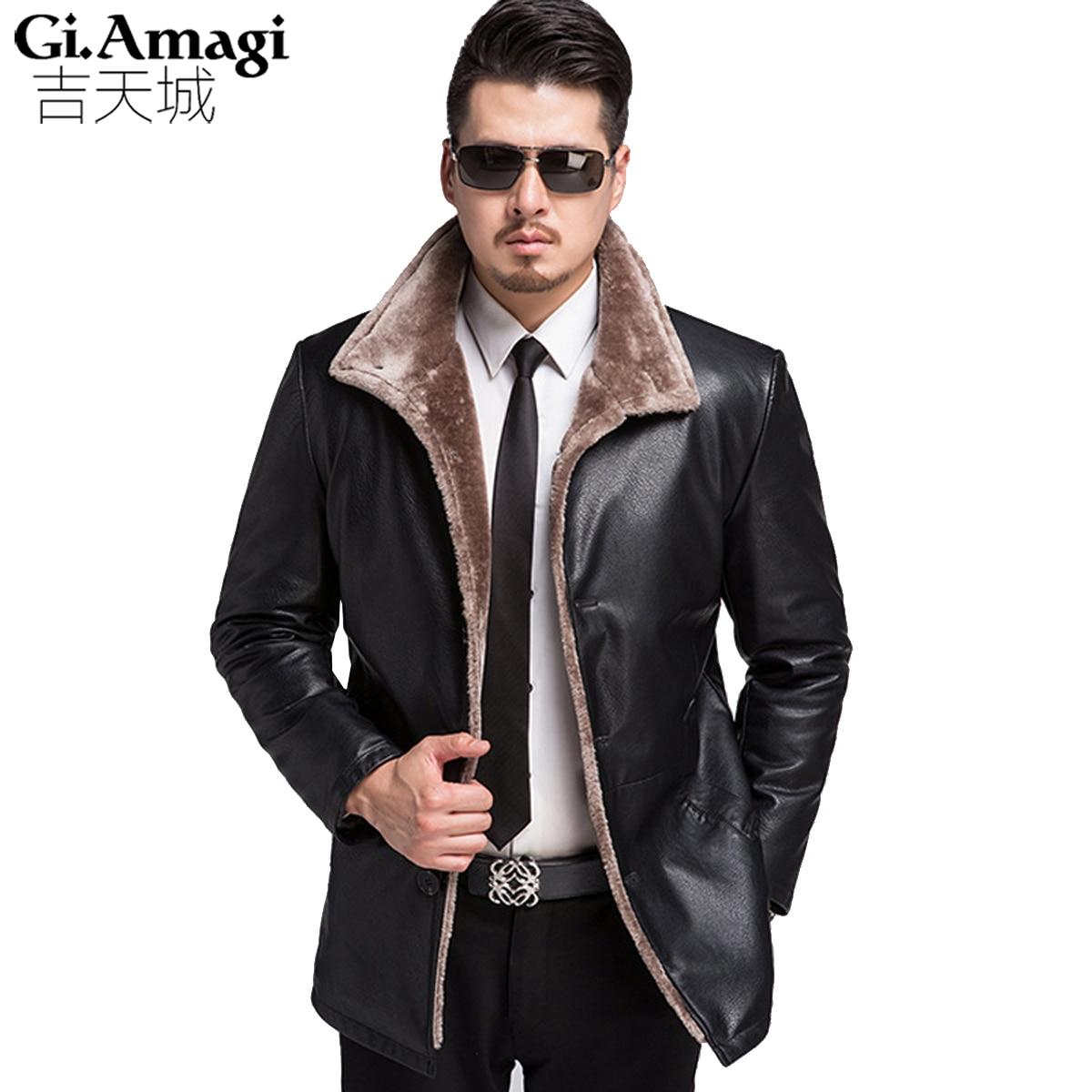 Mens Smart Casual Fashion Winter Thick leather jacket Men Garment flocking Black and Brown Faux Fur High Qualit Men Coat 3XL