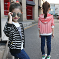 Kids Baby Girls Hooded Black Striped Jacket Coats Sport Style Outerwear Children Girls Outerwear&Coats New Children's Clothing