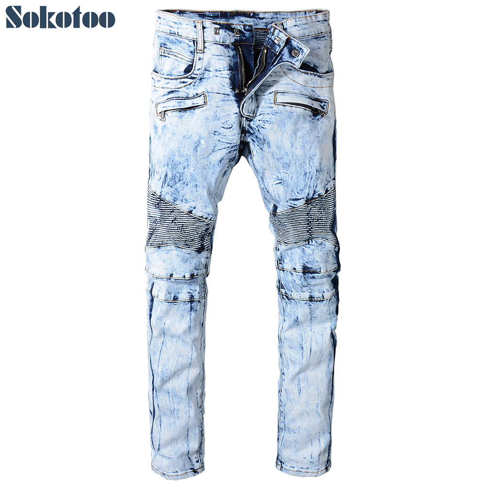 Sokotoo Mens snow wash tie and dye biker jeans Slim fit stretch cotton denim pants for motorcycle