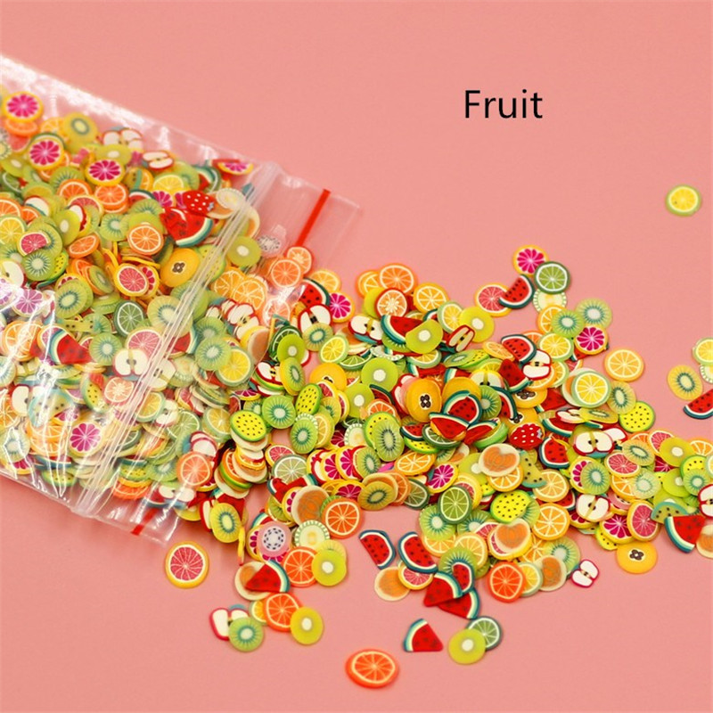 1000PC/Pack Cute Polymer Clay Slime Filler Fruit Slices Material Cartoon DIY Craft Decorative Supplies Scrapbooki Embellishments