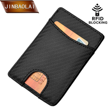 купить JINBAOLAI RFID Wallet Credit Card Holder Wallet Slim Protection Blocking Genuine Leather Cover Women Purse Men trave wallet дешево