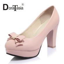 DoraTasia Big Size 33-43 Fashion Women Sweet Bowtie Shoes Vintage Thick High Heels Round Toe Platform  Pumps