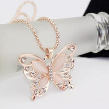 Butterfly Necklace Female Chain Opal Pendant Animal Cat Eye Rhinestone Chain News Alloy Girl Women Fashion Jewelry Accessories