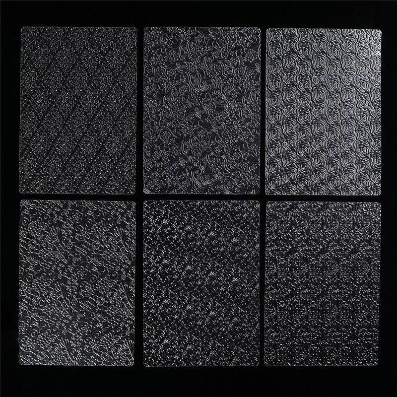6 Pcs/Set Plastic SugarCraft Decor Fondant Mold Stencils Cake Cookies Tyre Pattern Texture Mat DIY Baking Embossing Pad