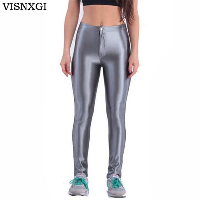 47bd05942b18 Women Neon Pants Leisure Button Autumn Plus Size Fluorescence Slim  Elasticity Female Trousers Femme Candy Color