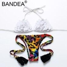 BANDEA 2017 Bikini Women New White Bikini Set Bathing Suit Women Ruffle Swimwear Floral Print Swimsuit Women Tassel Sexy Bikini