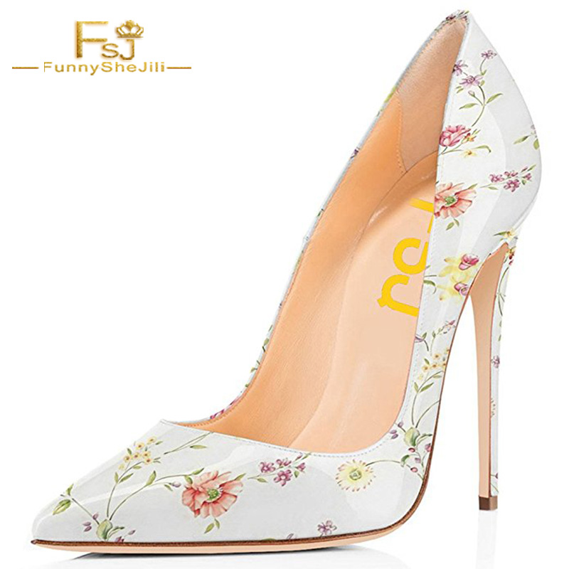 Floral Print Sexy Pumps High Thin Heels Woman Shoes Flower Party Evening Wedding Shoes Woman Pointed Toe Patent Leather 41 FSJ avvvxbw women pumps sexy patent leather thin heels high heeled shoes woman pointed toe pumps wedding shoes plus size 36 46