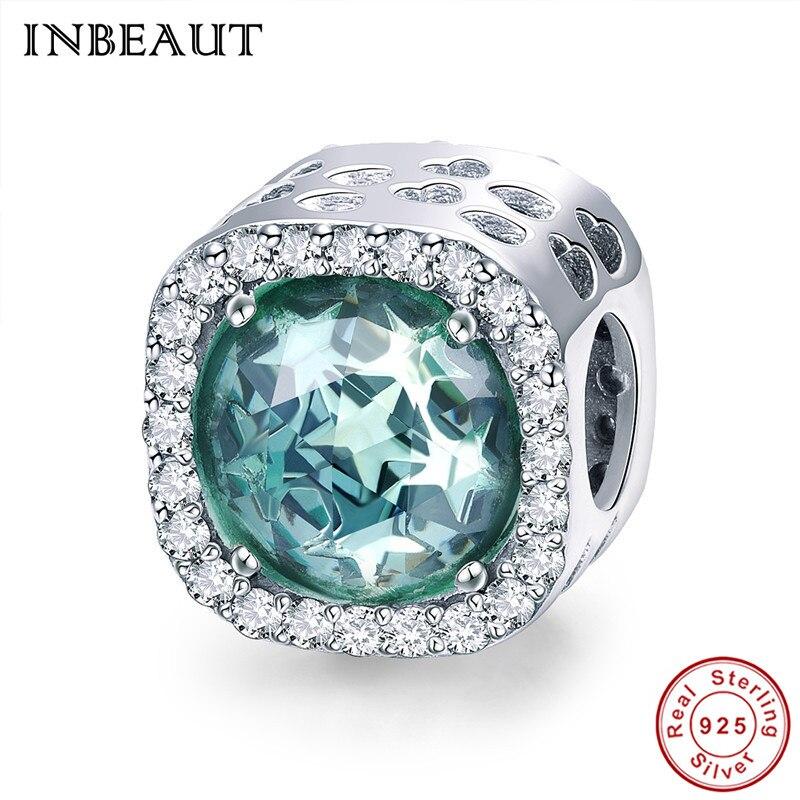 INBEAUT 100% Genuine 925 Sterling Silver Deep Ocean Green Star Zircon Stone Beads fit Pandora Charm Bracelet Women Party Jewelry