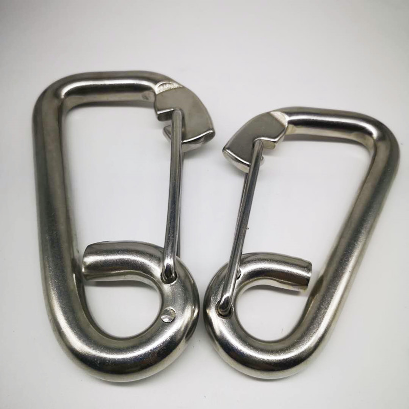2PCS 140mm/160mm Length Silver 304 Stainless Steel Carabiner Spring Camping Climbing Snap Hook