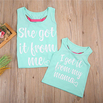 2017 New Family Mother and Daughter Kids Matching Vest Tank Tee Set Outfit Casual T shirt