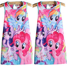 Kids Cartoon Horse Girls 2016 New Casual Summer Cotton Dress childrens's Clothing 4-14Y
