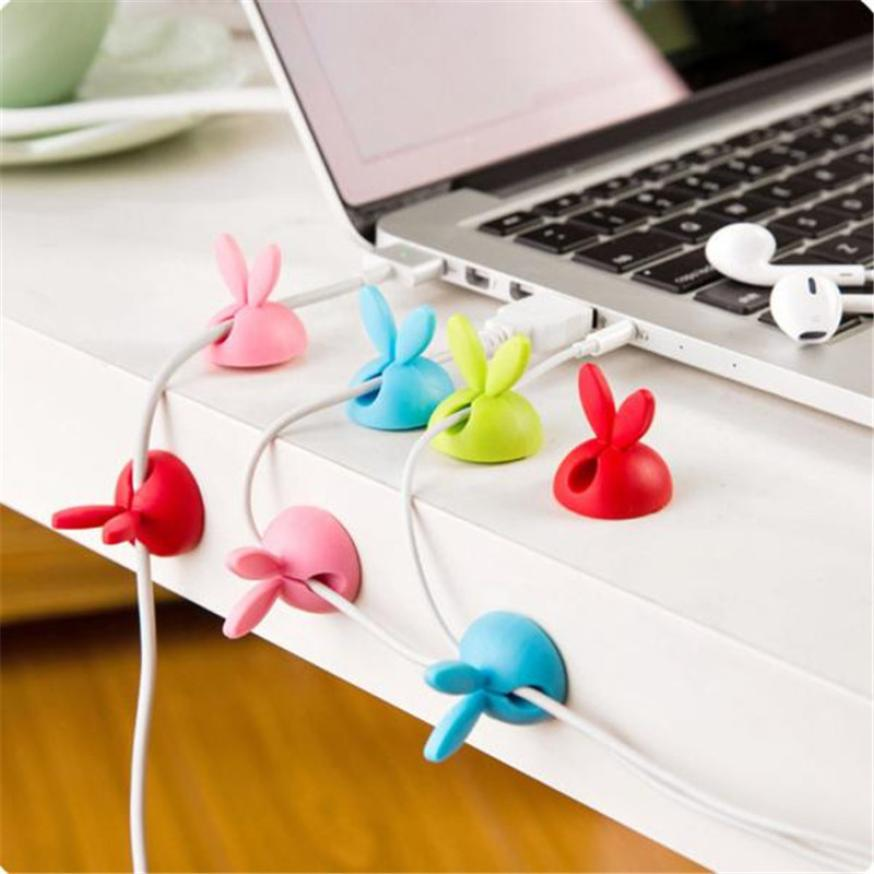 New 6pcs Cable Clip Desk Tidy Wire Drop Lead USB Charger Cord Holder Secure Table 2JU28