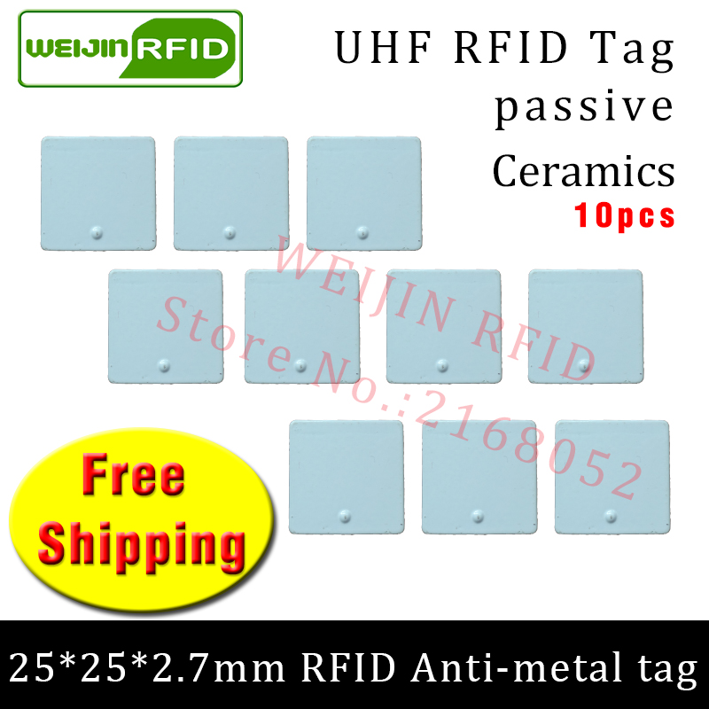 UHF RFID anti metal tag 915mhz 868mhz Alien Higgs3 EPC 10pcs free shipping 25*25*2.7mm small square Ceramics passive RFID tags 2016 trays management anti metal epc gen2 alien h3 uhf rfid tag 50pcs lot