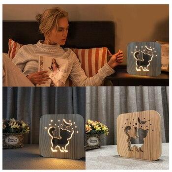 3D Kucing Kayu Lampu Meja LED USB Pengisian Meja Lampu Malam untuk Rumah Kamar Tidur LKS99