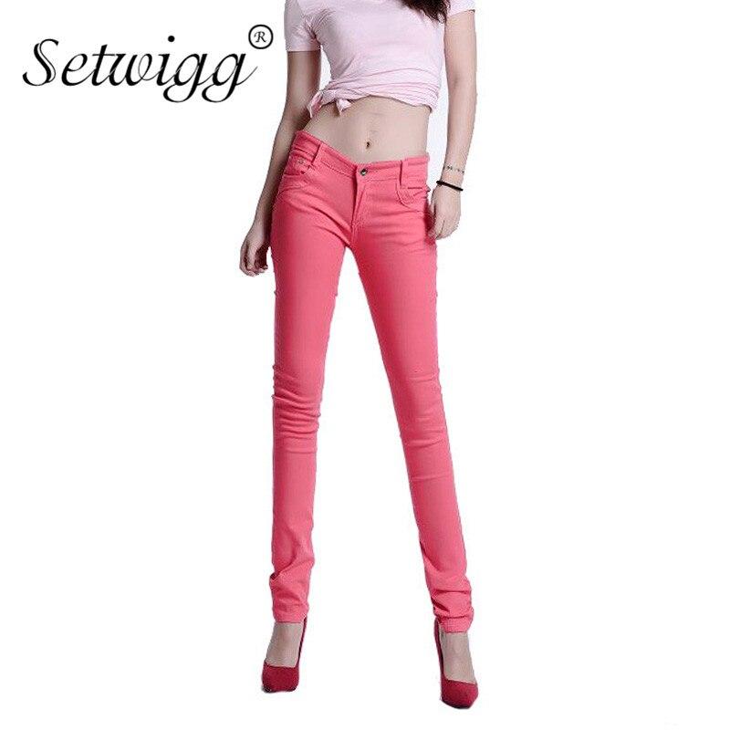 SETWIGG Fashion Womens Candy Color Stretch Pencil Pants Cotton Spandex Bodycon Dlouhé kalhoty Dámské hubené kalhoty
