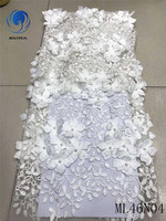 BEAUTIFICAL african 3d lace fabric african lace fabric 2019 high quality lace white color with beads french lace fabric ML46N04