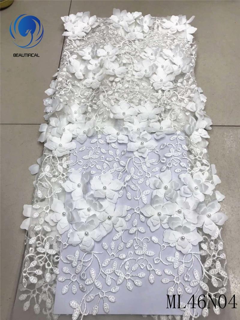 Beau tissu africain de dentelle 3d tissu africain de dentelle 2019 couleur blanche de dentelle de haute qualité avec des perles tissu français de dentelle ML46N04