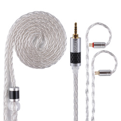 Yinyoo 8 Core Pure Silver Upgraded Cable 2.5/3.5/4.4mm Balanced Cable With MMCX/2pin Connector For HQ12 HQ10 TFZ ZS10 AS10 C16