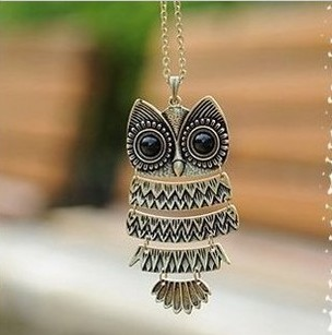 2016 New Hot Vintage Women Owl Pendant Long Sweater Chain Jewelry Golden Antique Silver Bronze Charm fashion drop shipping