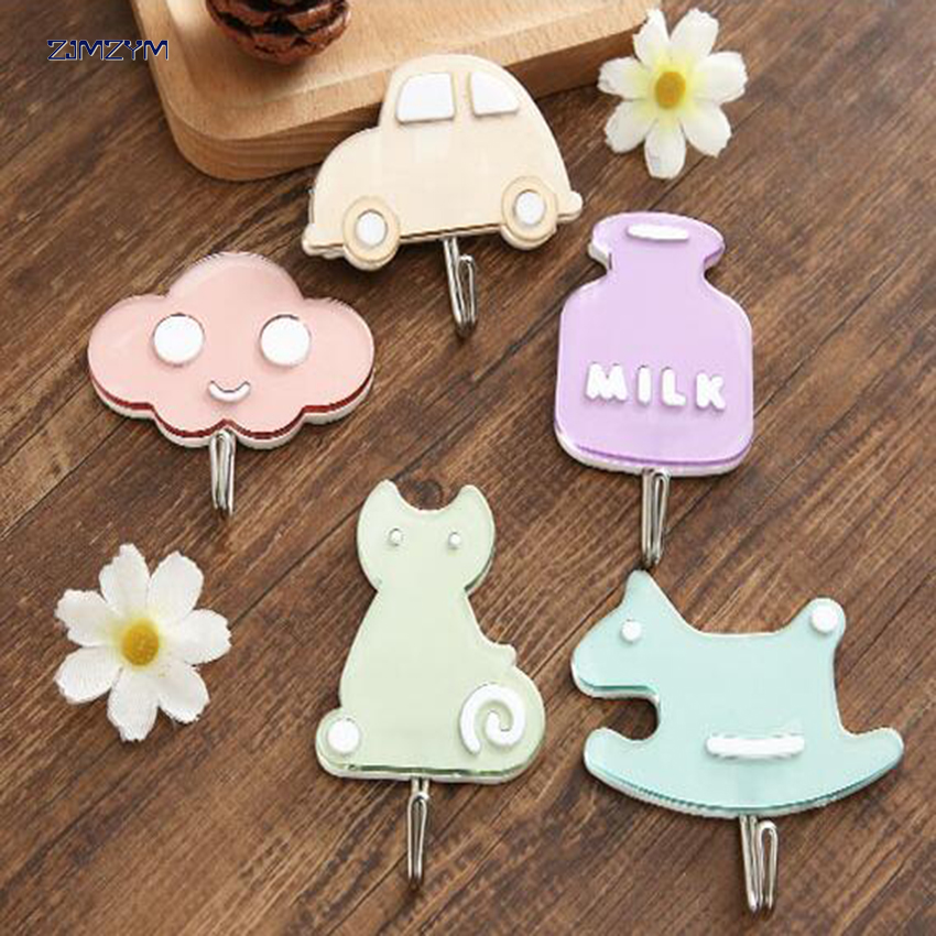1pc Cute Cartoon Sticky Hooks Wall-Mounted Suction Cup Key Clothes Organizer Holder Decorate Wall Door Strong Rack Hooks