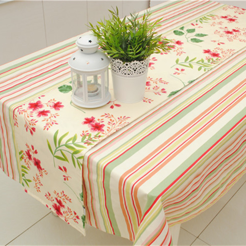 Europe Style Cotton Canvas Printed Sakura Table Runner for Home/Hotel Double Sides 30*180cm 30* 210cm Accept Customized