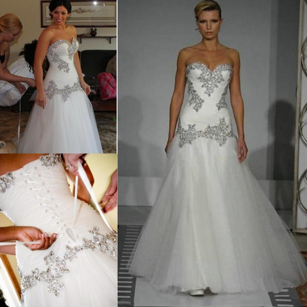 Crystal Wedding Gown: Hot Selling Real Pictures Spring Gorgeous Sweetheart