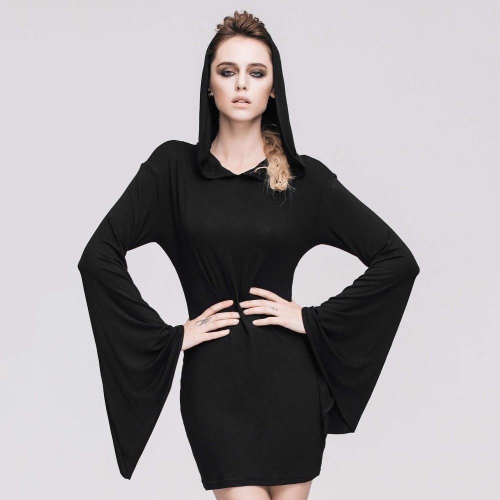 Gothique Sexy noir Flare manches à capuche robe Rock Punk nuit Club fête robes courtes rétro Vintage Streetwear femmes vêtements 2019 - 6