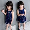 Новый 2016 на лето большие девочки прекрасный вишневый дизайн спинки короткое платье без рукавов детей платье Fits3-15Y