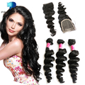 Malibu Dollface Loose Wave Cheap Brazilian Virgin Hair with Lace Closure 3 Bundles Human Hair Tissage Bresilienne Avec Closure