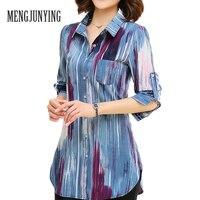 MJY Blouse Shirt 2017 fashion Print Vrouwen M-5XL Plus Size lange mouwen Slim Blouse Kantoor Werkkleding tops Blusas Vrouwelijke 717