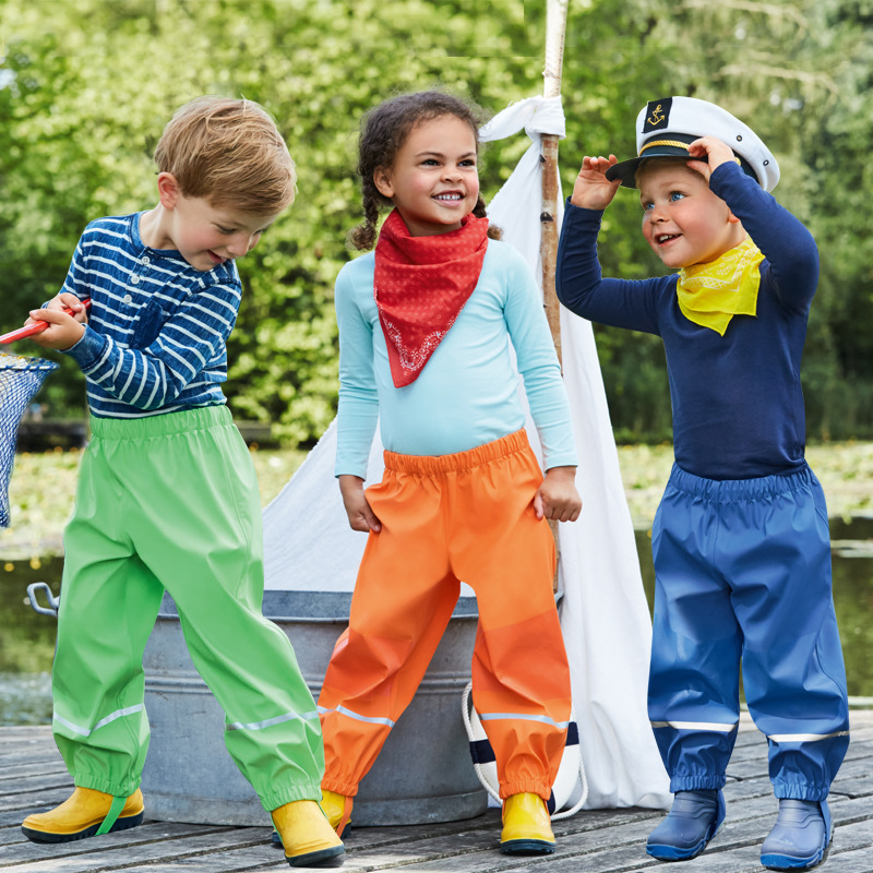 2018 Spring Autumn Boys And Girls Outdoor Pu Trousers 2-8 Years Children Windproof Waterproof Rain Pants Good Quality