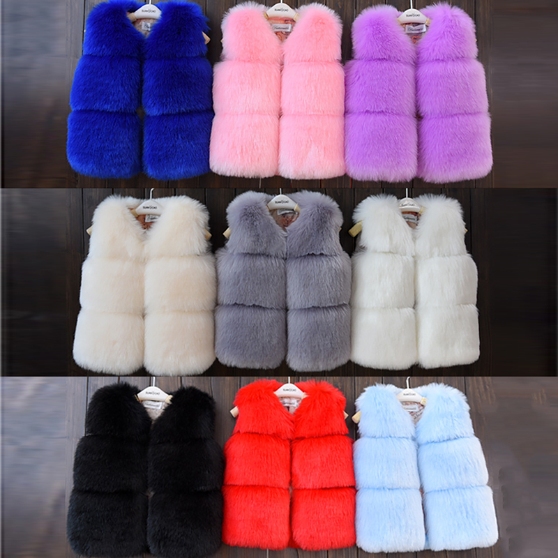 Baby Girls Artificial Fox Fur Vest Girl Faux Fur Coats 2018 Winter Warm Waistcoat Children Sleeveless Jacket Outerwear Clothing girls faux fur children s clothing 2018 winter new sweet girl warm coat jacket female treasure fur vest dress grinch christmas