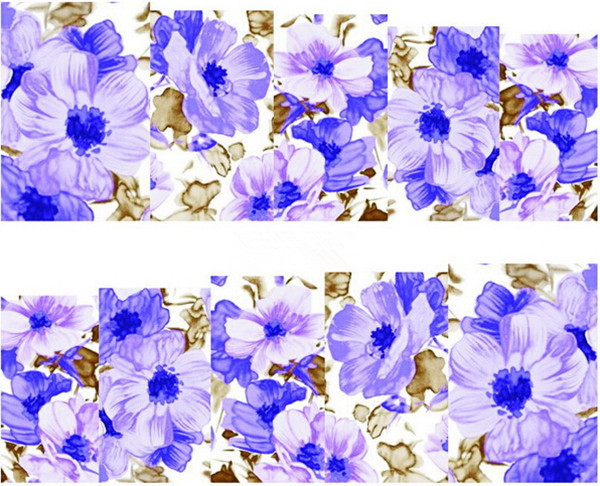 Water Transfer Nail Art Stickers Decal Elegant Purple Flowers Oil Painting Design DIY French Manicure