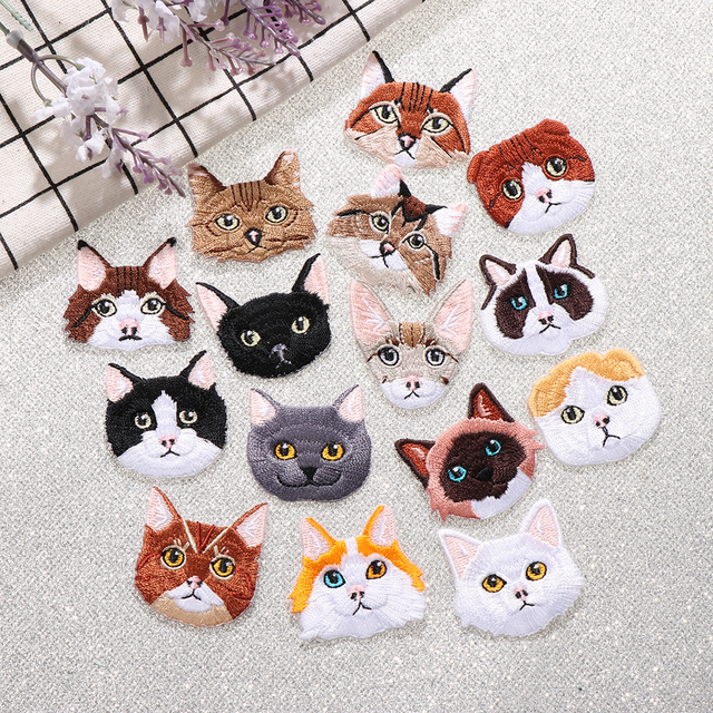 Fabric Embroidered Cat Patch