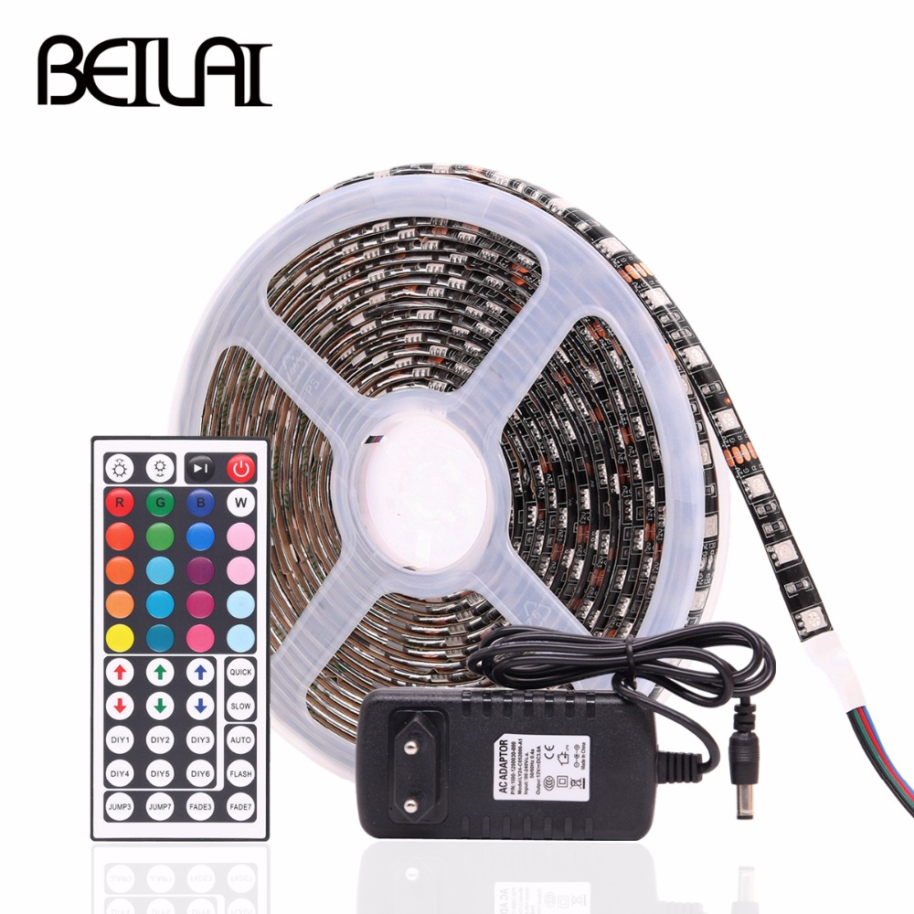 RGB LED Strip 5050 Black PCB 30LEDs/m 60LEDs/m Waterproof DC 12V LED Light Strip Flexible Neon Tape with Power and Controller 20m smd 5050 rgb led strip light 60leds m led flexible tape rope lights 18a wireless touch remote controller dc 12v power supply