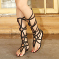 Летний стиль колено высокие сандалии ботинки женщин 2015 мода ботинки женщин сандалии женщина сексуальная лето гладиатор сандалии босоножки обувь женская босоножки женские
