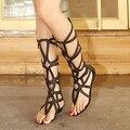 ESTILO do VERÃO na altura do joelho altas sandálias sapatos mulheres 2015 moda mulheres botas sapatos mulher sexy do verão sapatos femininos sandálias gladiador sandália
