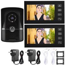 Waterproof Doorbell Intercom System 7 #8243 LCD Door Video Phone Wired Intercom Doorbell Kit Home Entry System 1V2 806FG12 cheap VBESTLIFE Hands-free Color Wall Mounting None other Wireless One to Two video doorphone Video Door Phone Intercom Door Phone