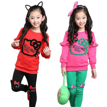 99c488e38 Girls HELLO KITTY Clothing Sets Spring Cotton Long Sleeve Hoodie+Pants Kids  Clothes Suit High