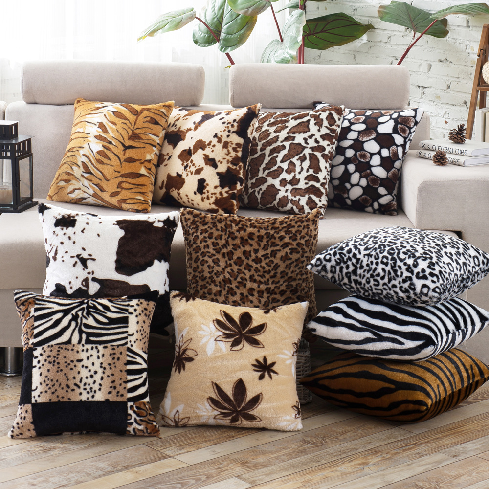 Nordic leopard super soft short plush sofa cushion cover pillowcase new home hotel cafe sofa decoration in Cushion Cover from Home Garden