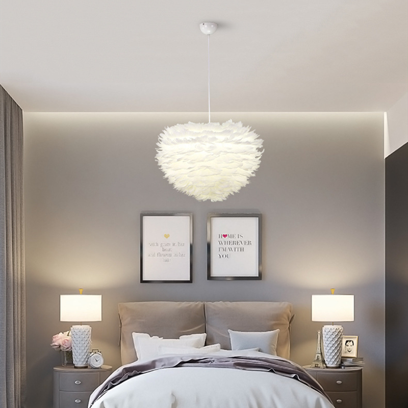 Us 1245 17 Offnordic Led Bedroom Chandelier Lighting Modern Minimalist White Feather Lampshade Lliving Room Study Hanging Light Fixtures In